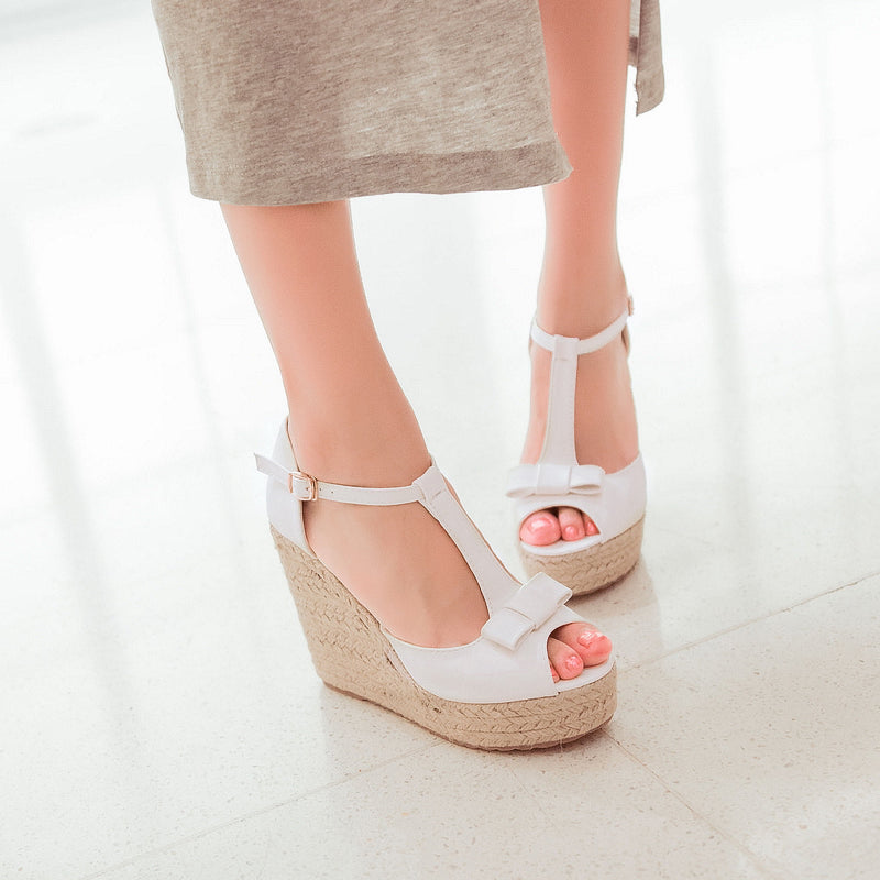 PU Peep Toe Woven Wedge Heel T Strap Bow Sandals