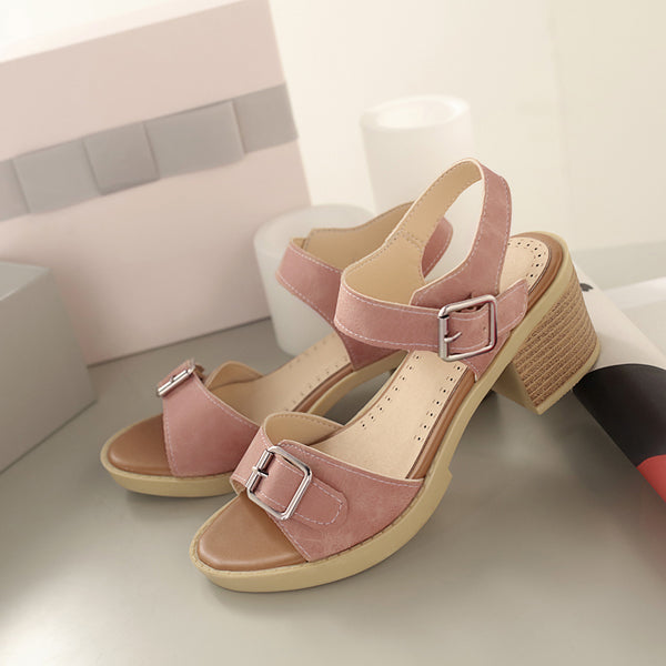 PU Pure Color Open Toe Block Heel Metal Buckle Belt Sandals