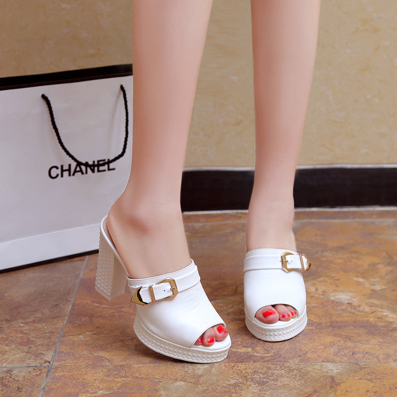 PU Pure Color Open Toe Block Heel Metal Buckle Embellished Mules