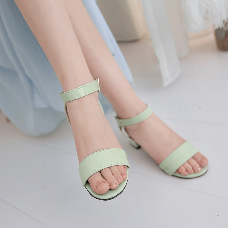 PU Pure Color Open Toe Middle Block Heel Ankle Strap Sandals
