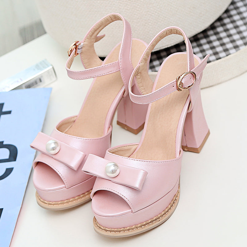 PU Pure Color Peep Toe Block Heel Metal Buckle Belt Pearl Bowtie Sandals