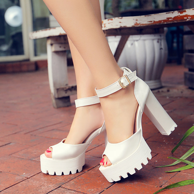 PU Pure Color Peep Toe Block Heel Metal Buckle Belt Sandals