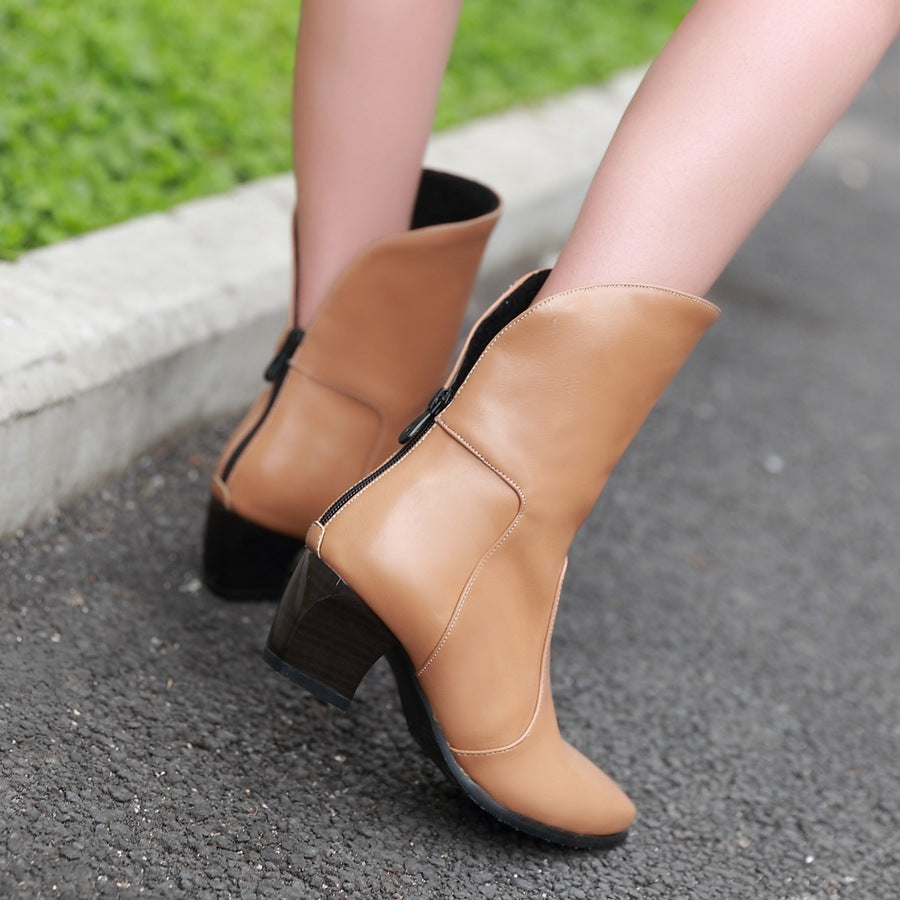 PU Pure Color Pointy Toe Block Heel Back Zipper Short Boots