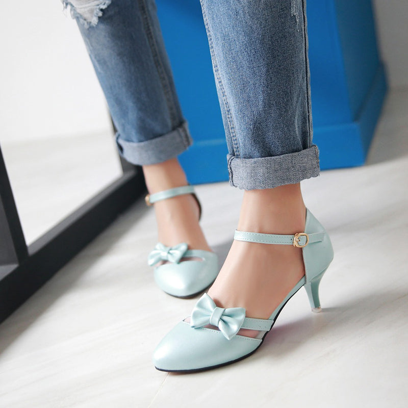 PU Pure Color Pointed Toe Kitten Heel One-buckle Belt Bowtie Sandals
