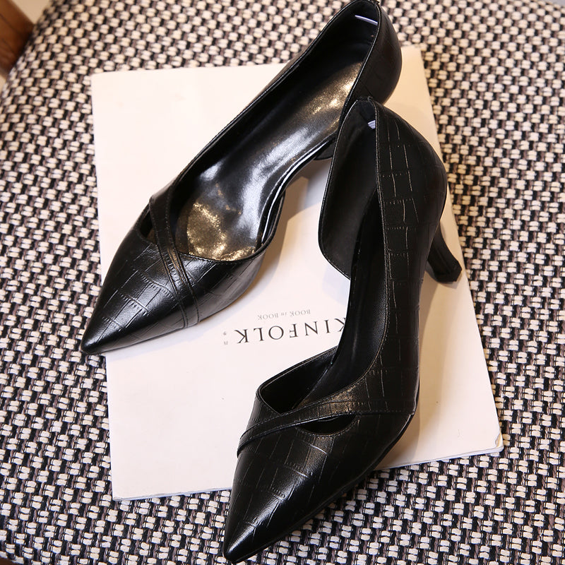 PU Pure Color Pointy Toe Kitten Heel Plaid Lines Pumps