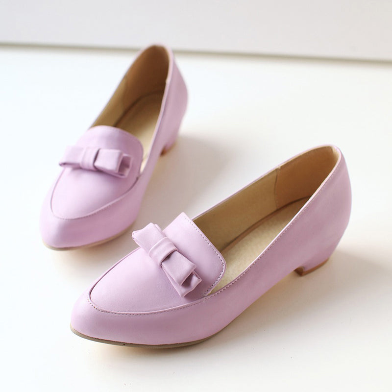 PU Pure Color Pointy Toe Middle Block Heel Bowtie Loafers