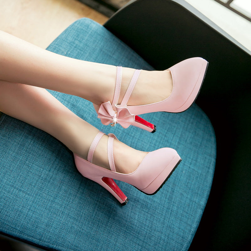 PU Pure Color Pointy Toe Stiletto Heel Bowtie Ankle Strap Velcro Pumps