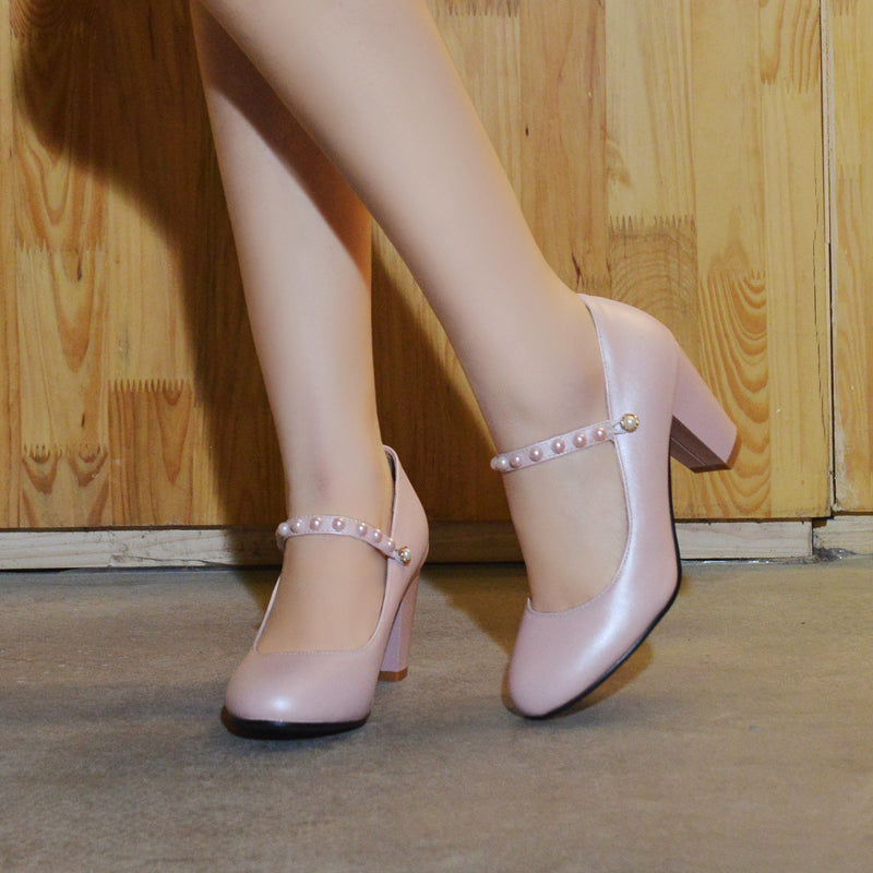 PU Pure Color Round Toe Block Heel Ankle Pearl Strap Mary Janes