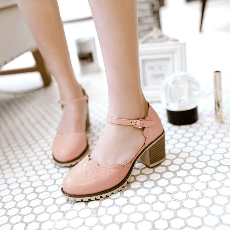 PU Pure Color Round Toe Block Heel Ankle Strap Flower Carved Sandals
