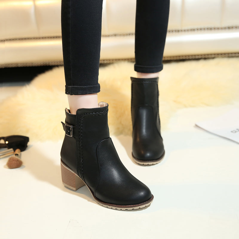 PU Pure Color Round Toe Block Heel Back Zipper Ankle Boots