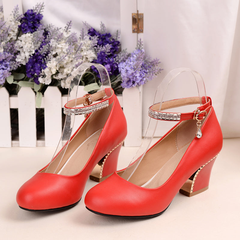 PU Pure Color Round Toe Block Heel Crystal Metal Buckle Belt Pumps