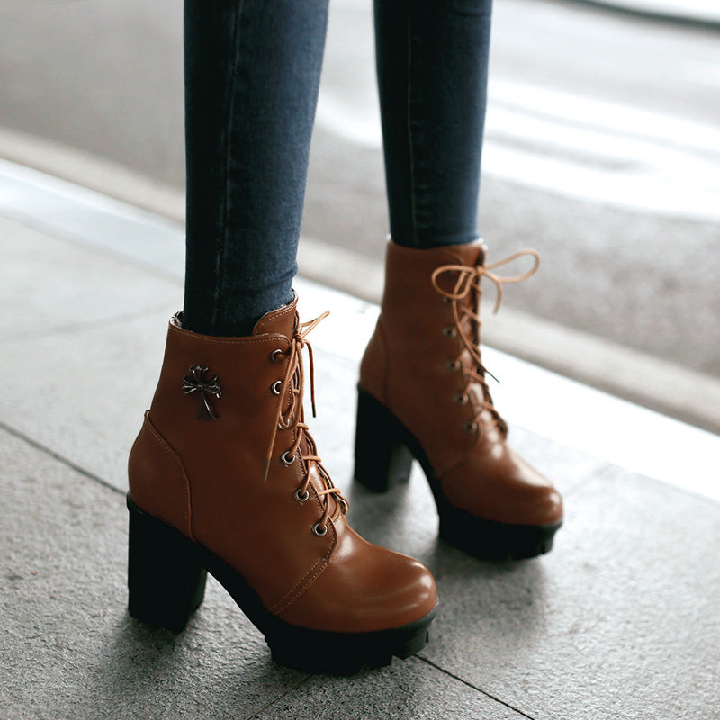 PU Pure Color Round Toe Block Heel Lace Up Ankle Boots With Metal Cross