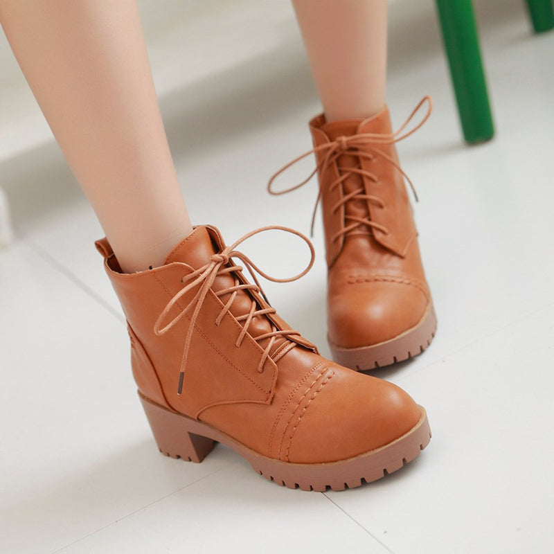 PU Pure Color Round Toe Block Heel Lace Up Martens