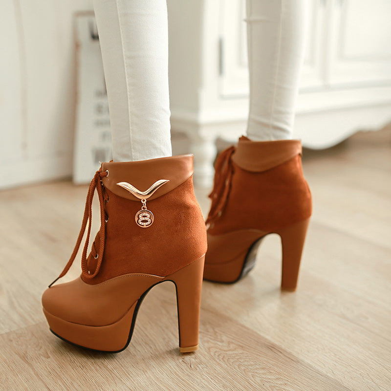 PU Pure Color Round Toe Block Heel Lace Up Metal Embellished Ankle Boots