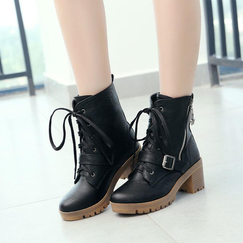 PU Pure Color Round Toe Block Heel Side Zipper Ankle Boots