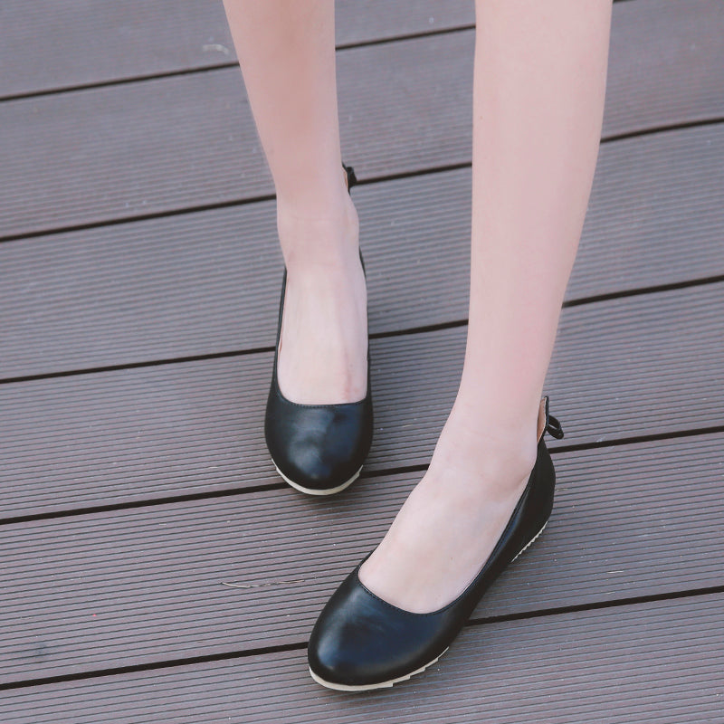 PU Pure Color Round Toe Hidden Heel Back Bowtie Loafers