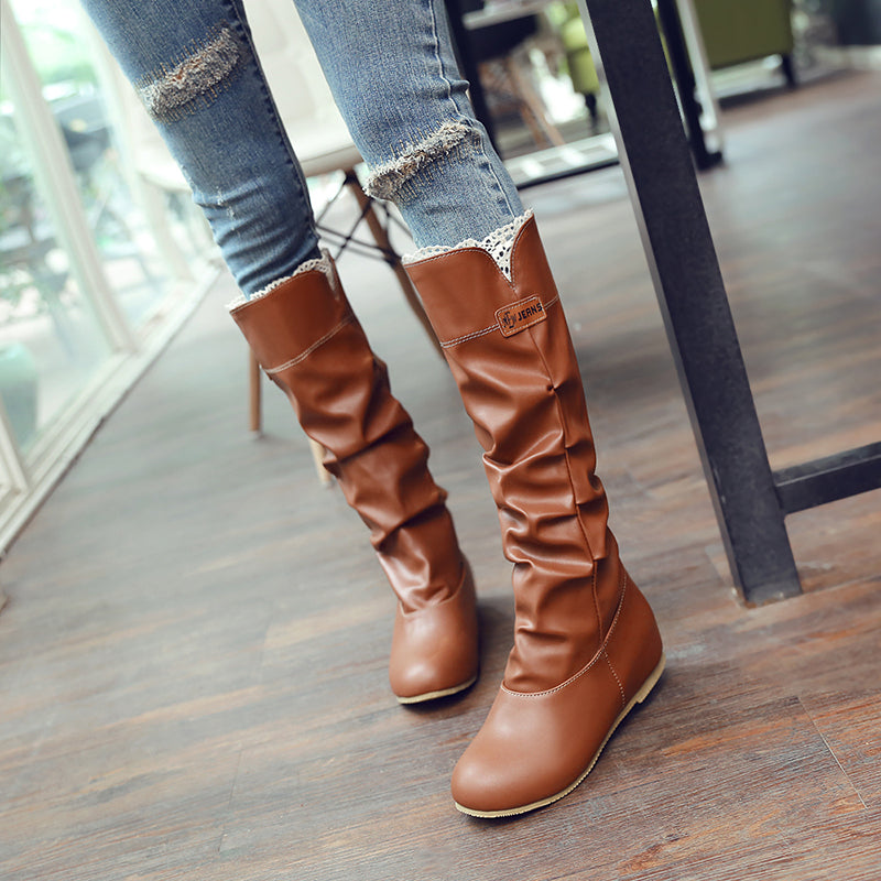 PU Pure Color Round Toe Hidden Heel Lace Embellished Slouch Boots