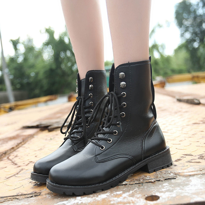 PU Pure Color Round Toe Low Block Heel Lace Up Rivet Martens