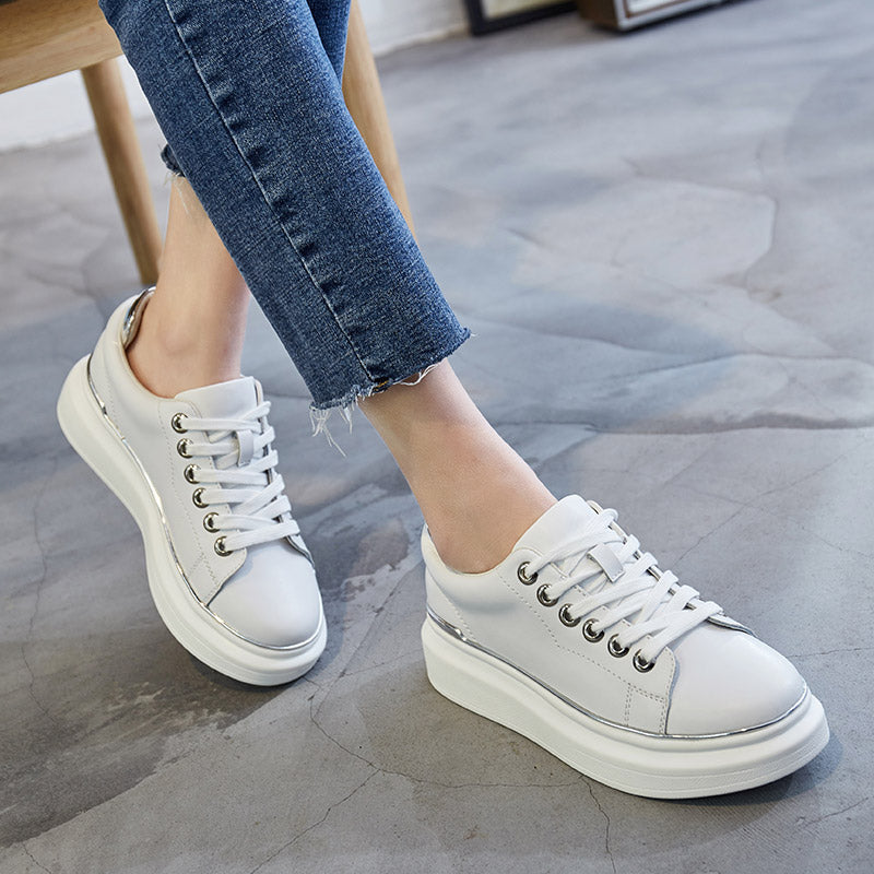 PU Round Toe Platform Heel Lace Up Embellished Bright Colors Edges Sneakers