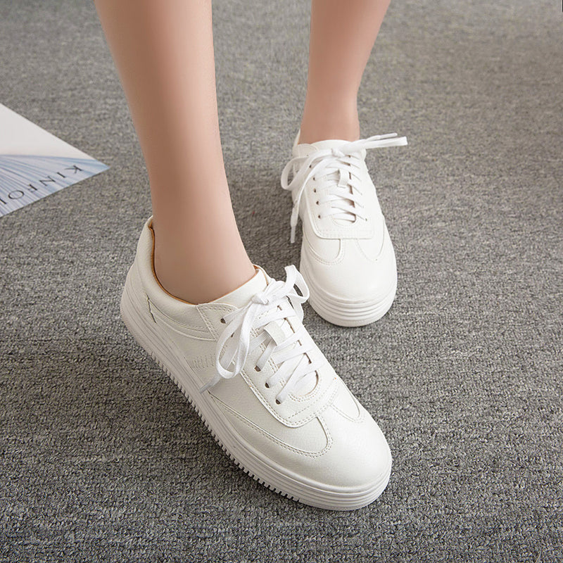PU Pure Color Round Toe Platform Heel Lace Up Sneakers