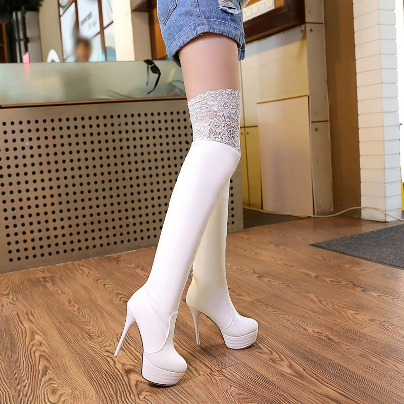 PU Pure Color Round Toe Stiletto Heel Lace Thigh High Boots