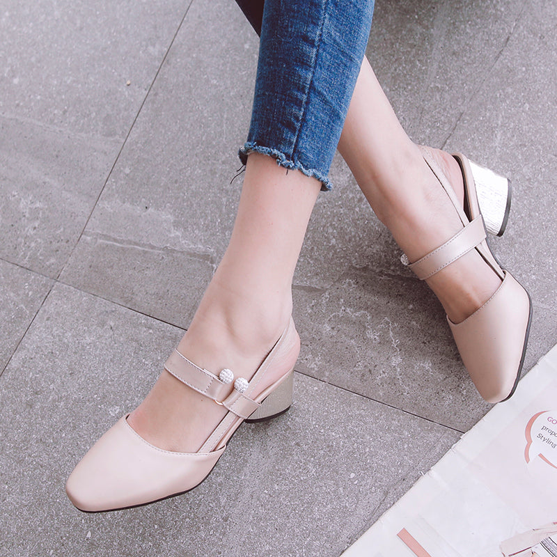 PU Pure Color Square Toe Block Heel Crystal Slingback Sandals
