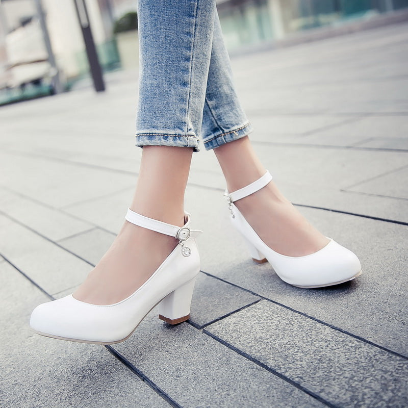 PU Round Toe Block Heel Ankle Strap Crystal Pumps