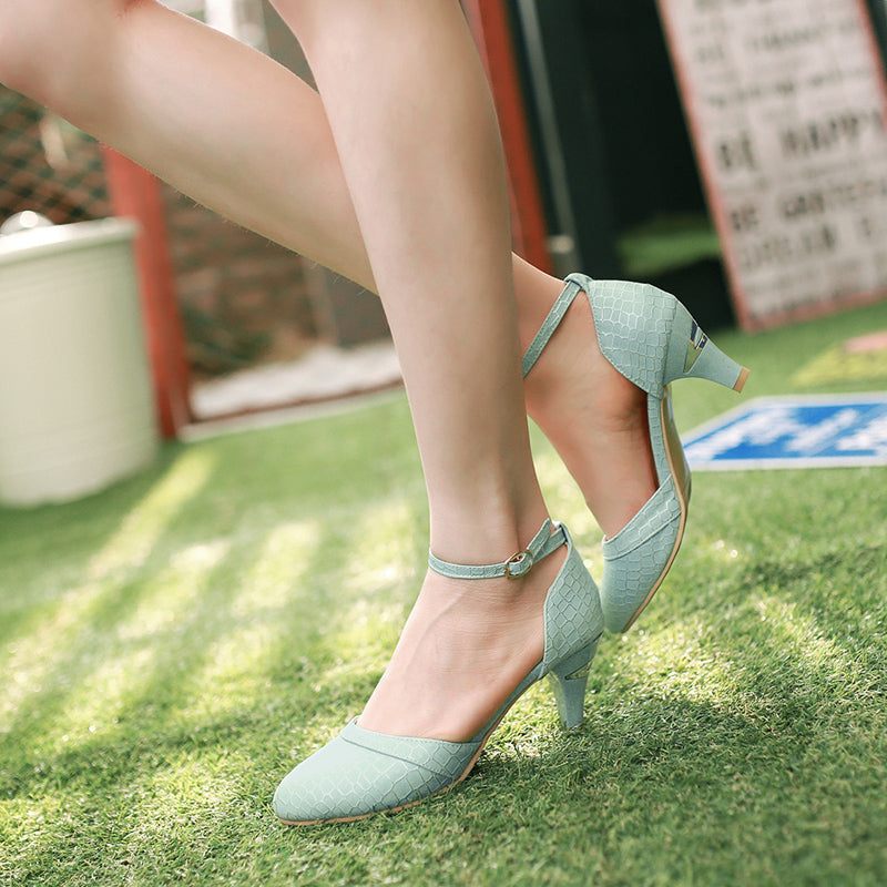 PU Sweet Pure Color Pointy Toe Kitten Heel Plaid Lines Ankle Strap Pumps