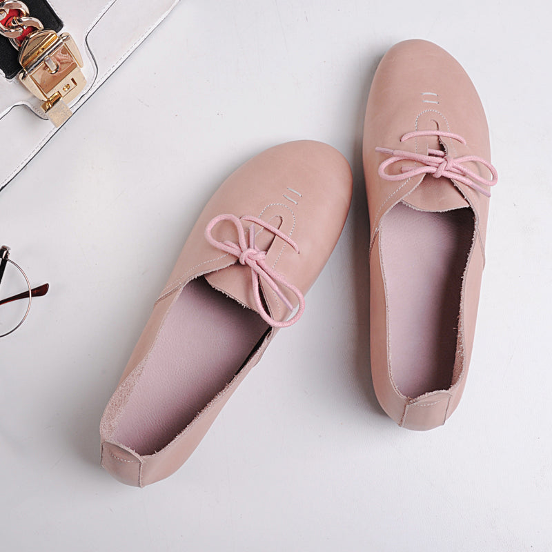 Round Toe Flat Heel Lace Up Loafers
