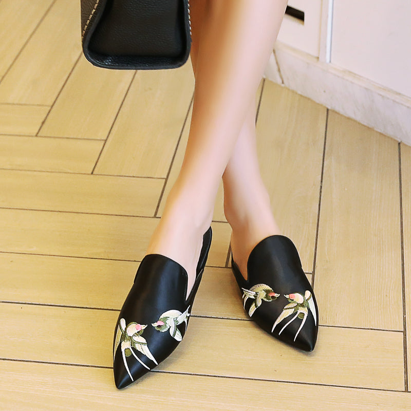 Satin Pure Color Pointy Toe Low Block Heel Embroidery Slippers