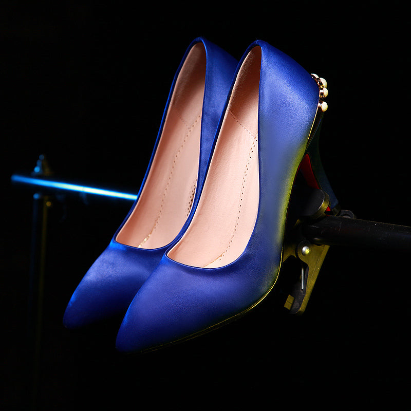 Satin Pure Color Pointy Toe Stiletto Heel Crystal Metal Embellished Pumps