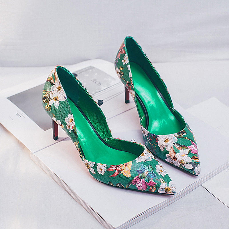 Sheep-skin Pure Color Pointy Toe Stiletto Heel Floral Ankle Strap Sandals