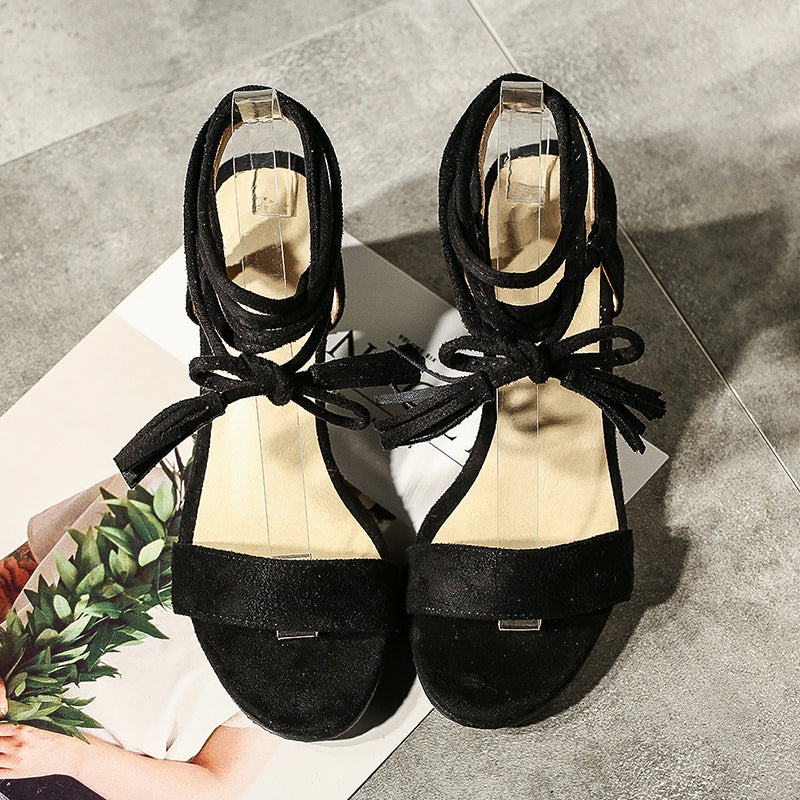 Suede Bohemian Open Toe Chunkey Heel Cross Strap Lace Up Pumps