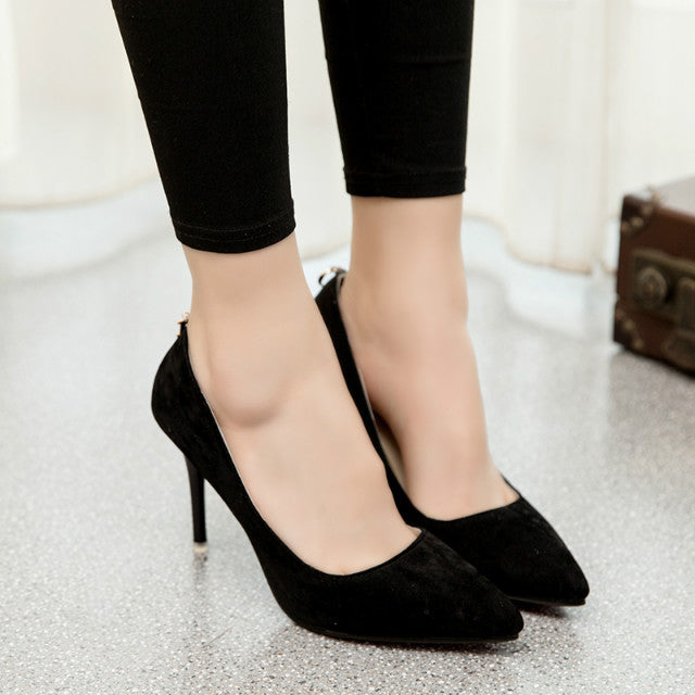 Suede Classic Pointy Toe Stiletto Low Cut Slip On Pumps