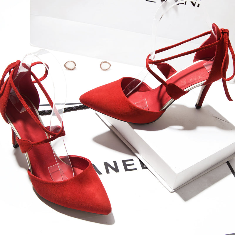 Suede Pure Color Hollow-carved Sexy Pointy Toe Stiletto Lace Up Sandals