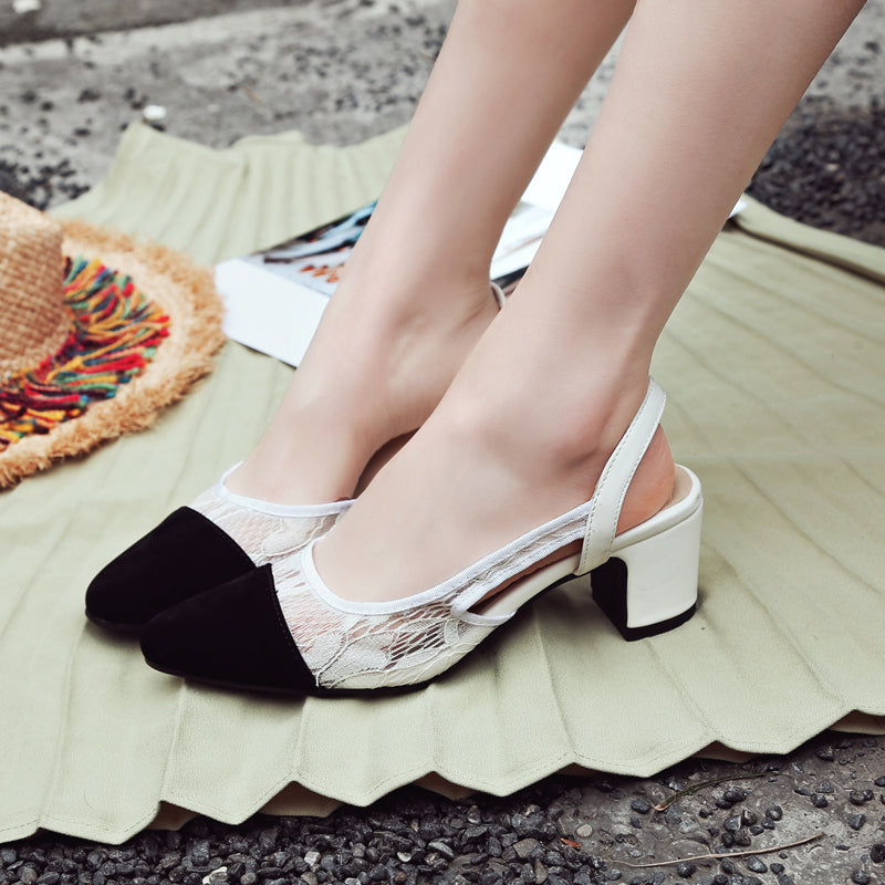 Suede Sweet Sexy Lace Square Toe Chunkey Heel Sling Back Sandals