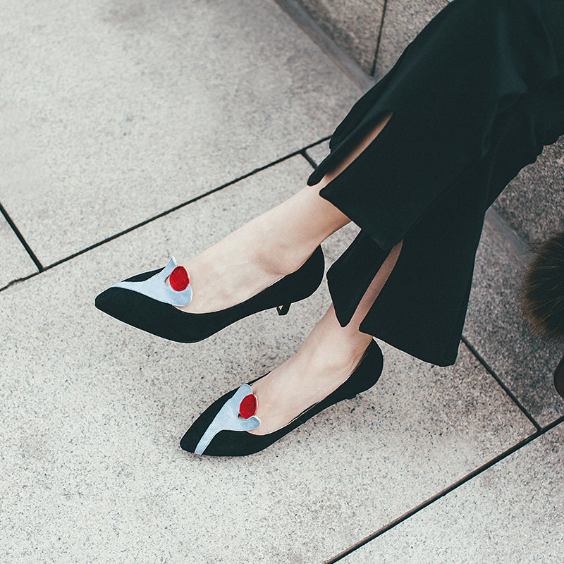 Suede Mixed Color Heart Shape Pointy Toe Kitten Heel Loafers