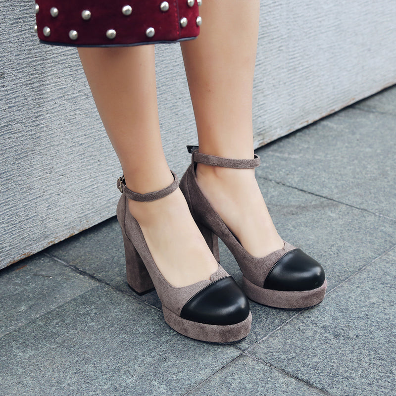 Suede Mixed Color Round Toe Block Heel Ankle Strap Pumps