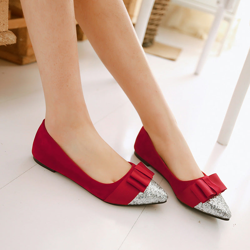 Suede Mixed Color Sequin Pointy Toe Flat Heel Bowtie Ballerina