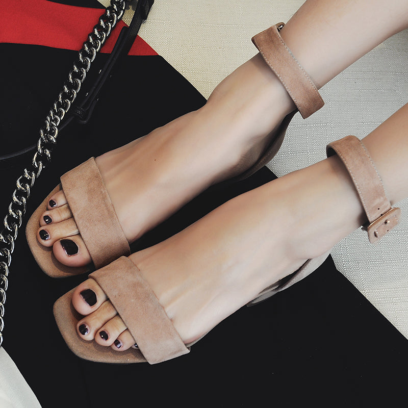 Suede Open Toe Block Heel Ankle Strap Sandals