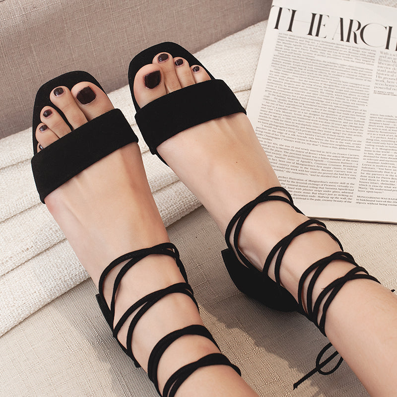 Suede Open Toe Block Heel Criss Cross Back Zipper Sandals