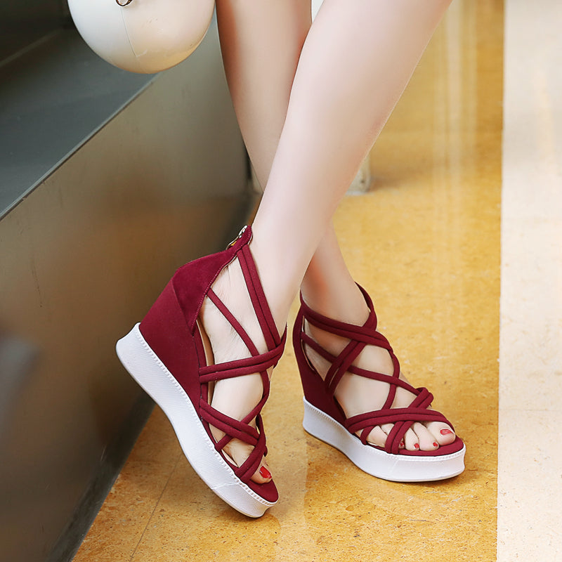 Suede Open Toe Wedge Heel Back Zipper Strappy Sandals