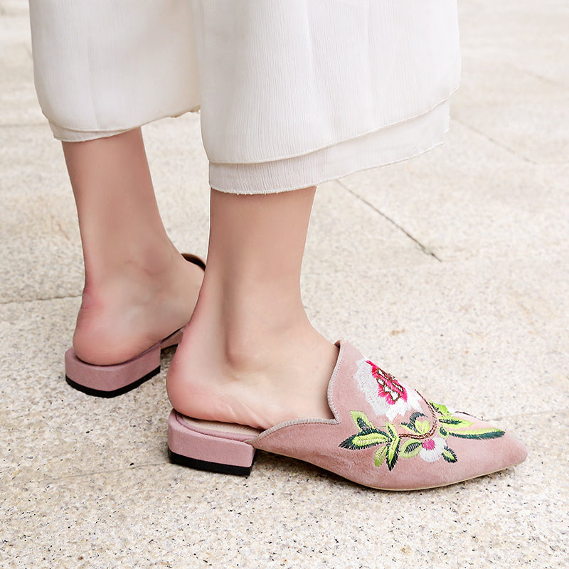 Suede Pointy Toe Low Block Heel Embroidery Mules