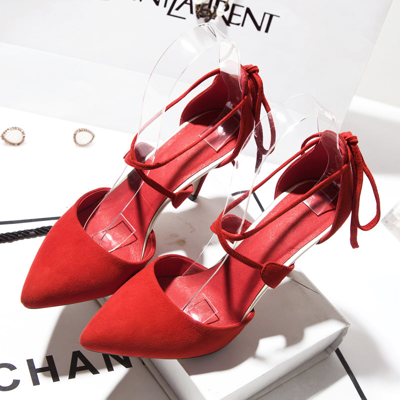 Suede Pointy Toe Stiletto Heel Cross Strap Lace Up Sandals