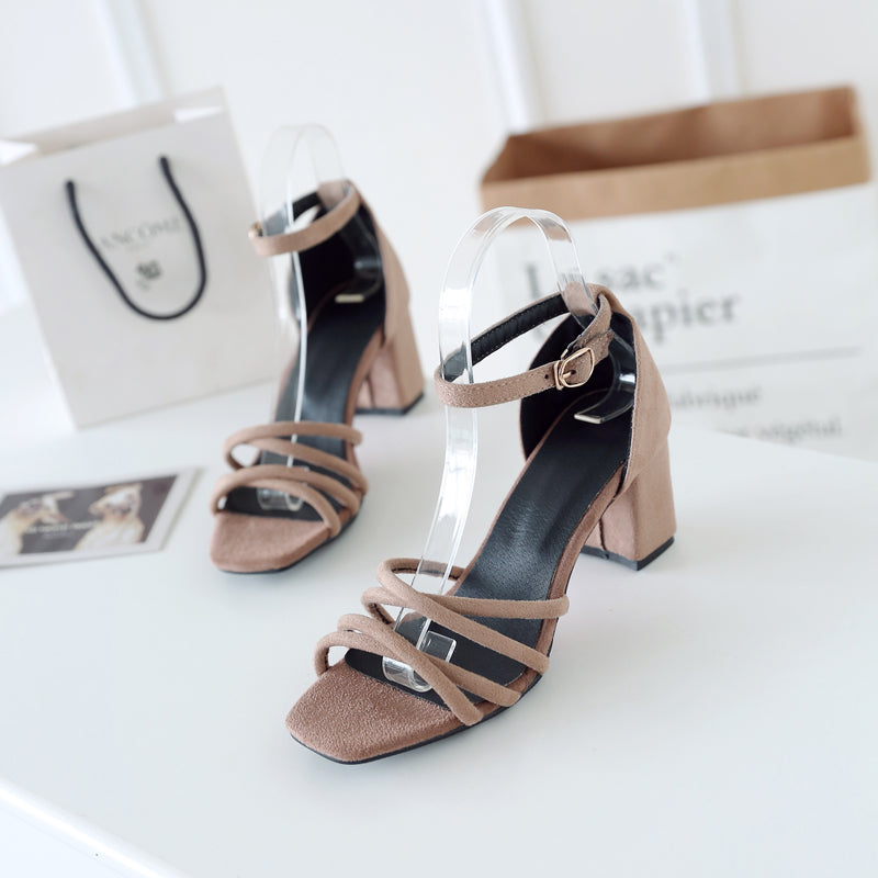 Suede Pure Color Cross Belt Open Toe High Block Heel Ankle Strap Sandals