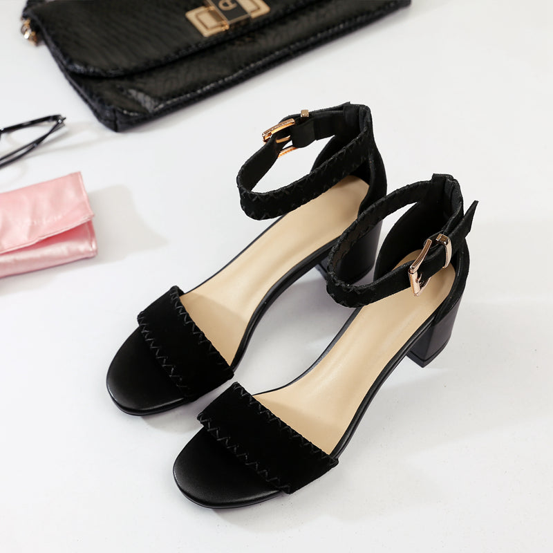 Suede Pure Color Open Toe Block Heel Ankle Strap Stitch Embellished Sandals