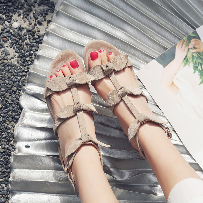 Suede Pure Color Open Toe High Block Heel T-strap Buckle Bowtie Sandals