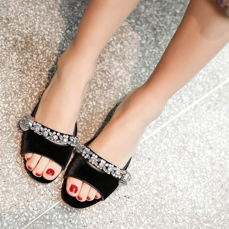 Suede Pure Color Open Toe Middle Block Heel Metal Crystal Embellished Slippers