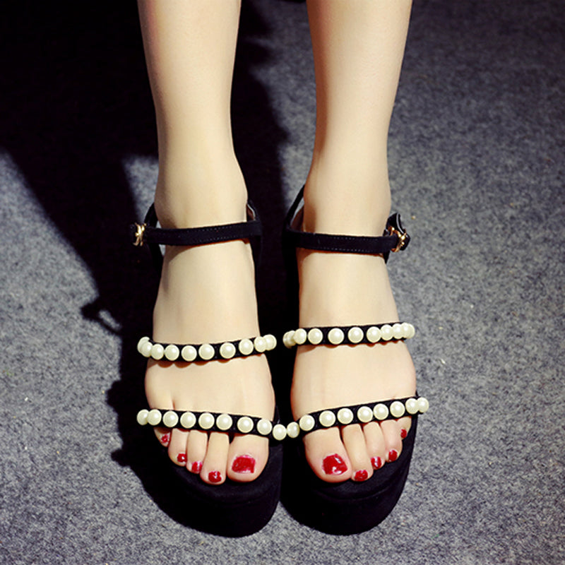 Suede Pure Color Open Toe Platform Heel Metal Buckle Belt Pearls Sandals