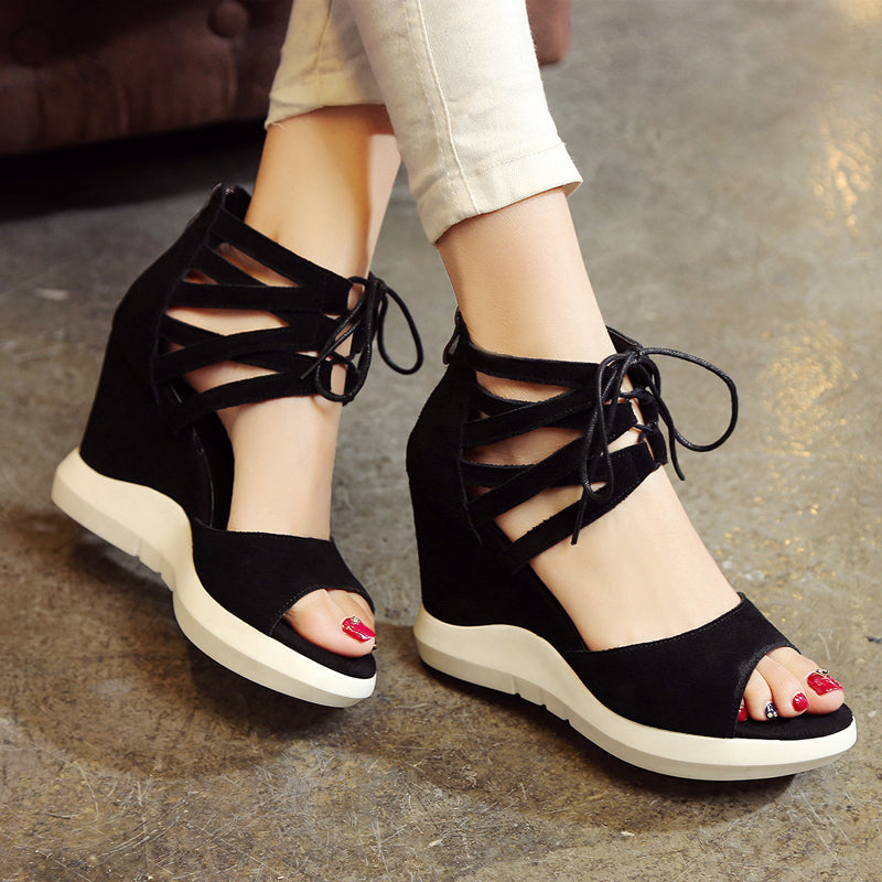 Suede Pure Color Open Toe Wedge Heel Lace Up Embellished Back Zipper Gladiator Sandals